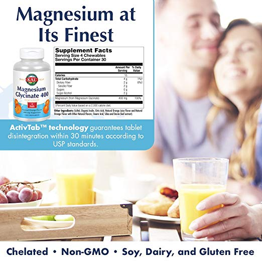 KAL - Magnesium Glycinate 400, 120 Chewables