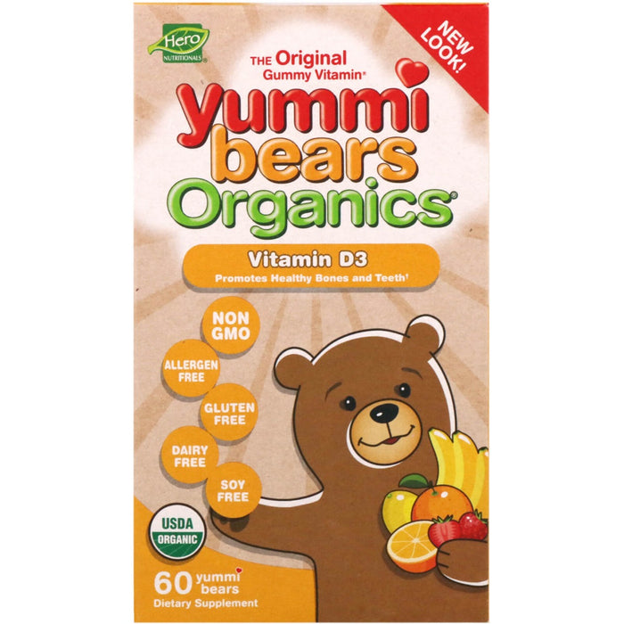 Hero - Nutritional Products, Yummi Bears Organics, Vitamin D3, 60 Yummi Bears