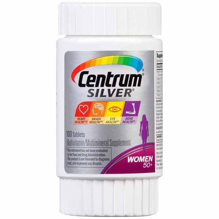 Centrum - Silver Women  Multivitamin / Multimineral Supplement Tablet, Vitamin D3, Age 50+, 100 Count