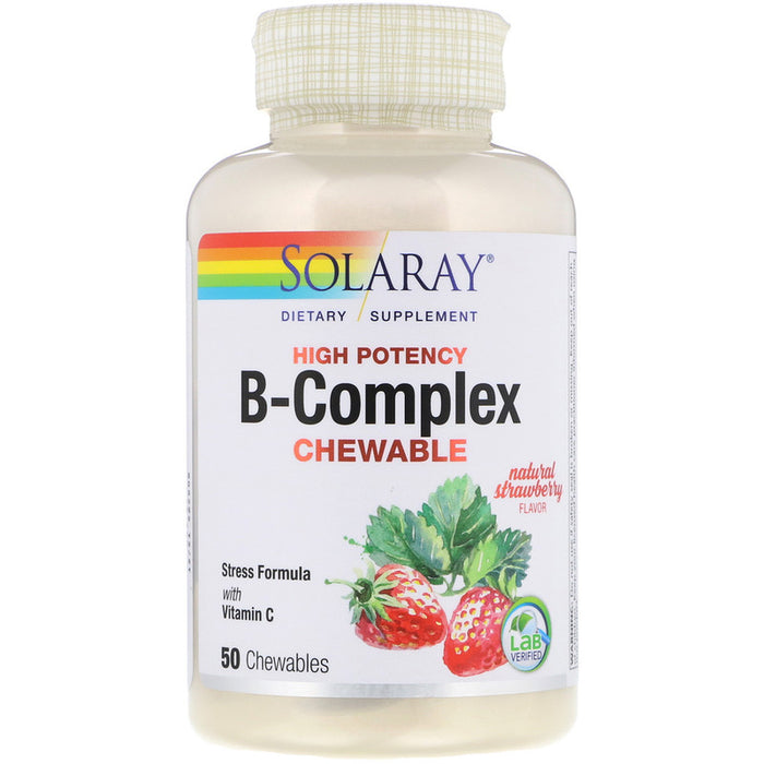 Solaray - High Potency B-Complex Chewable, Natural Strawberry Flavor, 50 Chewables