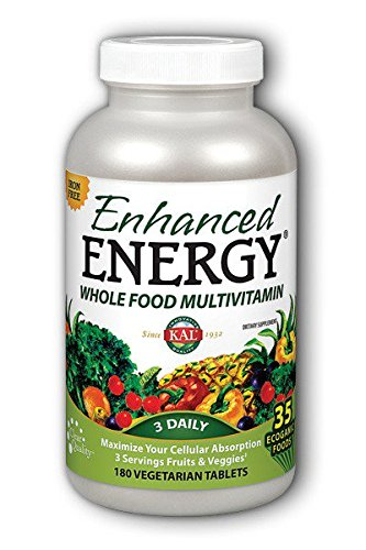 KAL - Enhanced Energy®, Whole Food Multivitamin Iron Free, 180 Vegetarian Tablets