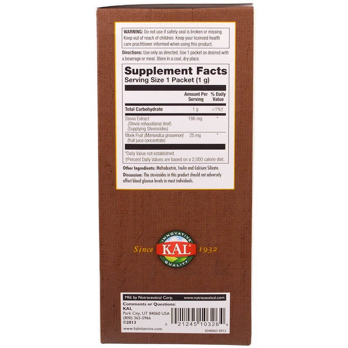 KAL - Sure Stevia, Plus Lo Han Guo Monk Fruit Extract, 100 Packets, 3.5 oz (100 g)