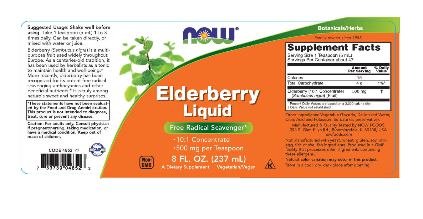 NOW Foods - Elderberry Liquid 500 mg. - 8 fl. oz.