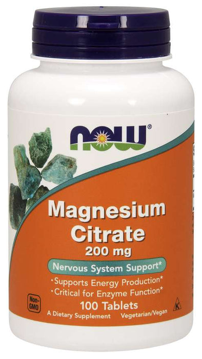 Now Foods Magnesium Citrate, 200 mg, 100 Tablets