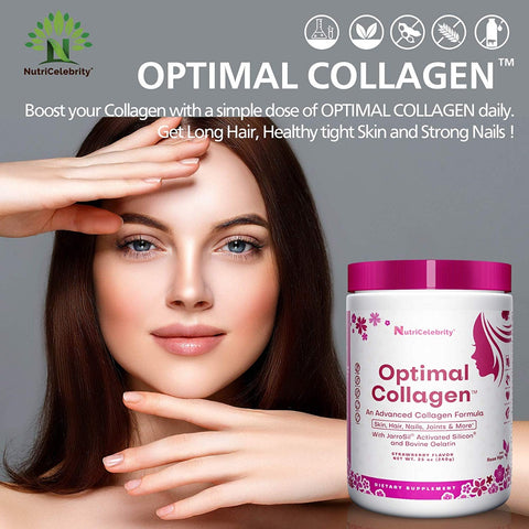 Nutricelebrity - Optimal Collagen Powder, Hair Growth Nails Skin Joints support, Strawberry flavor, 25oz