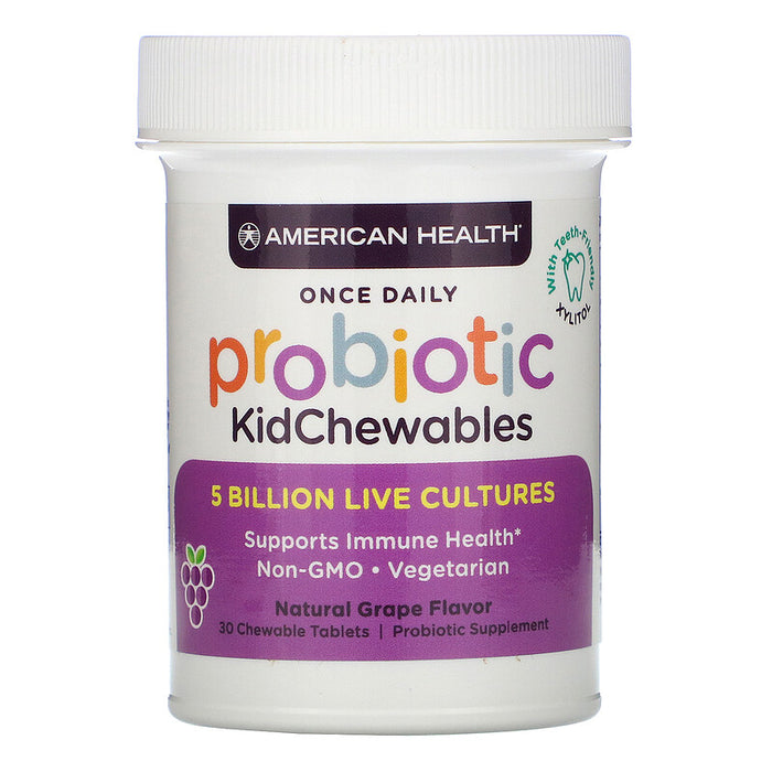 American Health, Probiotic KidChewables, Natural Grape Flavor, 30 Chewable Tablets
