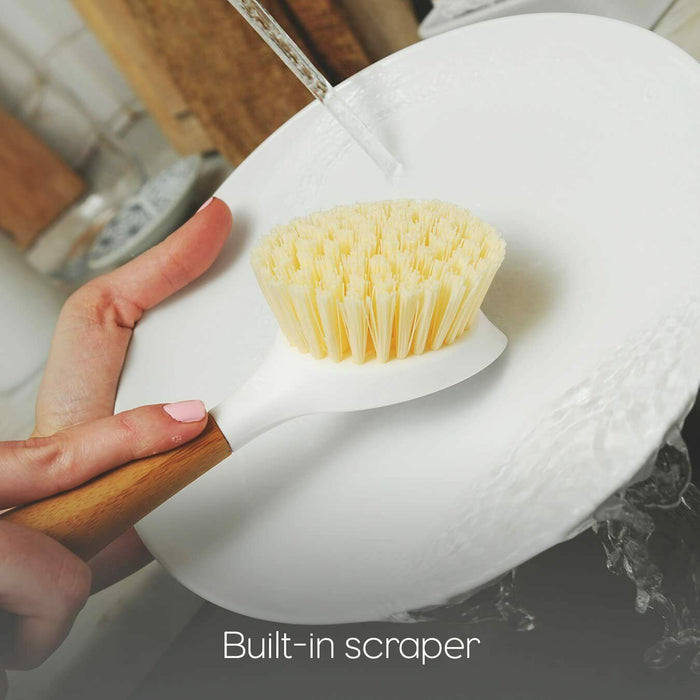 Full Circle - Be Good Kitchen Dish Brush with Bamboo Handle, White