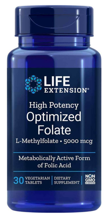 Life Extension - High Potency Optimized Folate, 5000 mcg, 30 Vegetarian Tablets