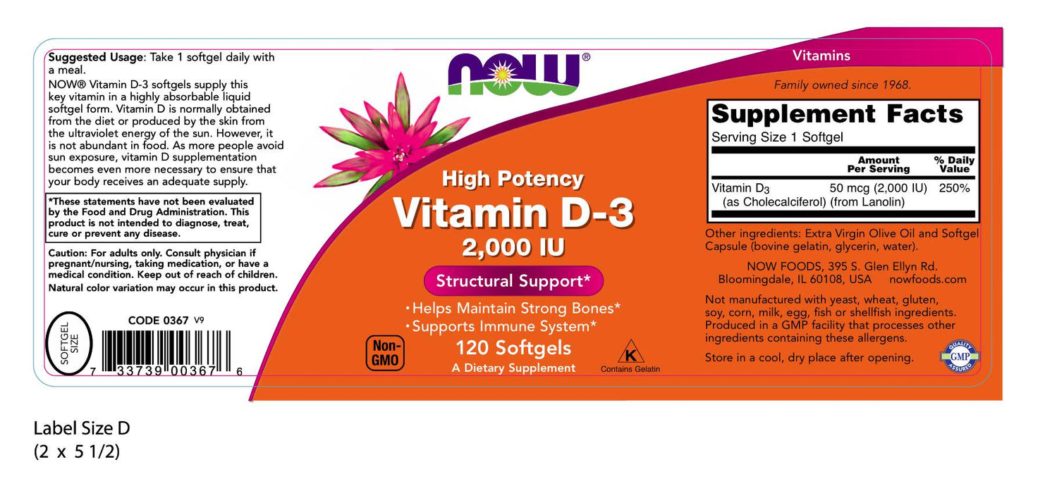 Now Foods - Vitamin D-3, 2000 IU, 120 Softgels