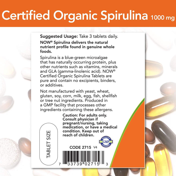 Now Foods - Certified Organic, Spirulina, 1000 mg, 120 Tablets