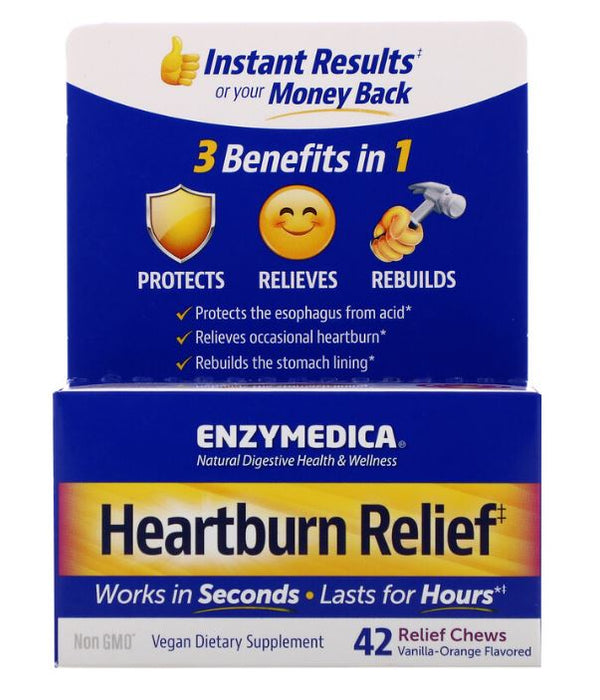 Enzymedica, Heartburn Relief, Vanilla Orange, 42 Chews (21 Servings)