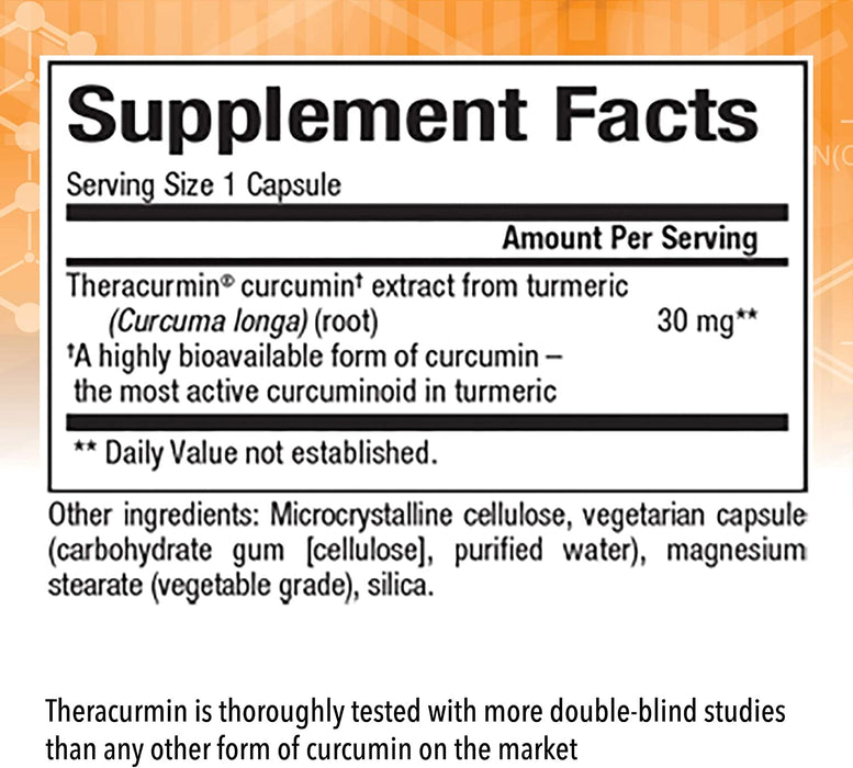 Natural Factors - CurcuminRich Theracurmin 30mg, Turmeric, Inflammation Support for Joints, Heart & Circulation, 120 Vegetarian Capsules