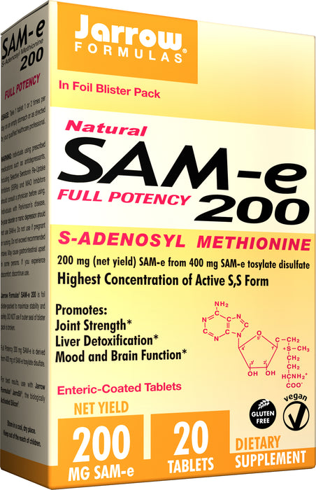 Jarrow Formulas SAM-e 200, 200 mg, 20 Tablets