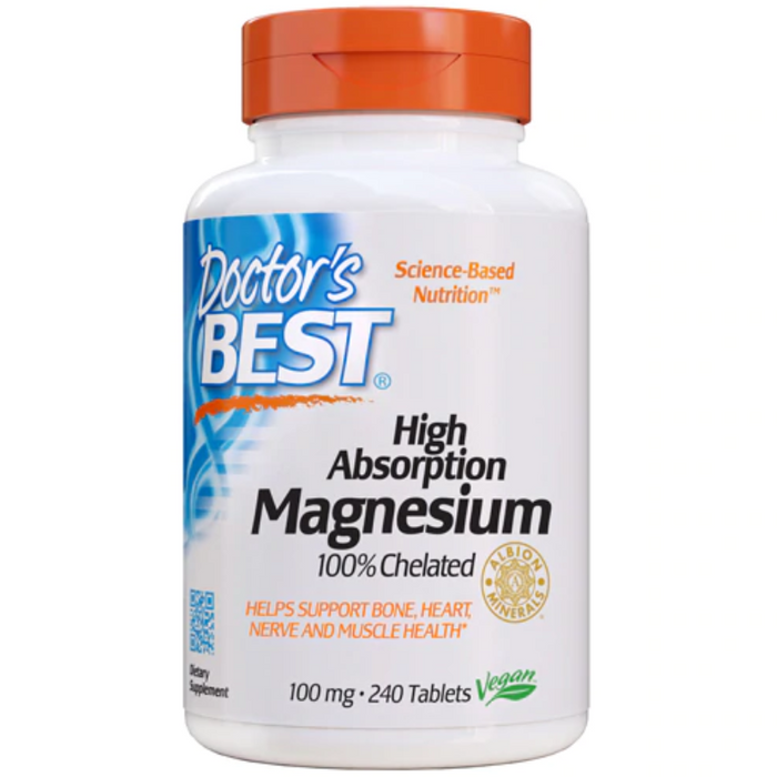 Doctor's Best - High Absorption 100% Chelated Magnesium, 100 mg, 240 Tablets