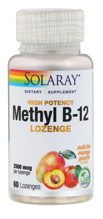 Solaray - High Potency Methyl B-12, Natural Mango Peach, 2,500 mcg, 60 Lozenges