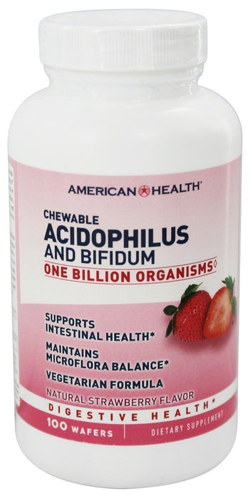 American Health Chewable Acidophilus and Bifidum Natural Strawberry Flavor, 100 Wafers