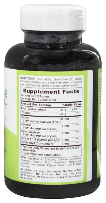 American Health Papaya Enzyme with Chlorophyll, 250 Chewable Tablets