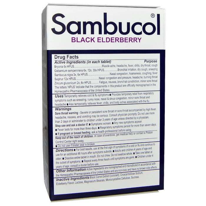Sambucol - Black Elderberry, Cold & Flu Relief - 30 Quick Dissolve Tablets