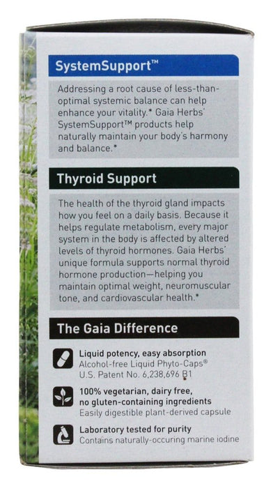Gaia Herbs Thyroid Support Liquid Phyto Capsules, 60 Vegetarian Capsules