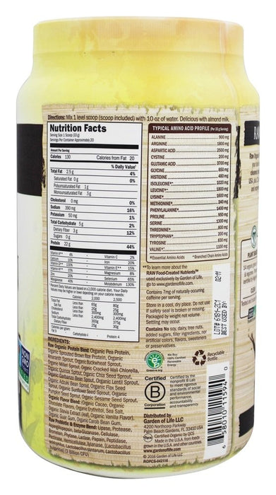 Garden of Life Raw Organic Protein, Chocolate, 23.4 oz (664 g)