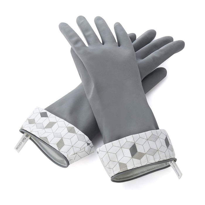 Full Circle, Splash Patrol, Natural Latex Cleaning Gloves, Size S/M, Grey, 1 Pair