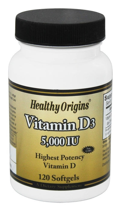 Healthy Origins Vitamin D3 5000 IU, 120 Softgels