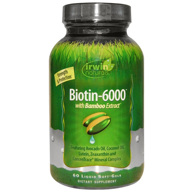 Irwin Naturals Biotin 6000 with Bamboo Extract, 60 Softgels