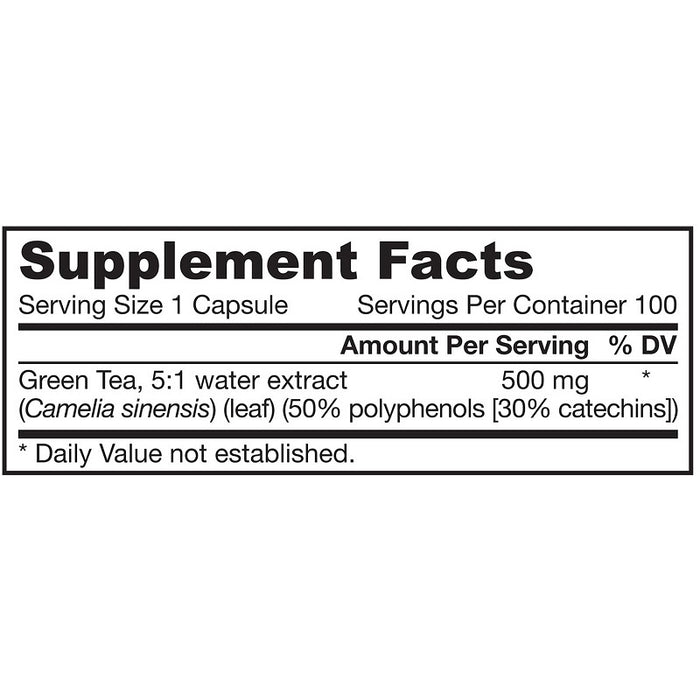Jarrow Formulas Green Tea, 500 mg, 100 Capsules