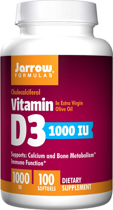 Jarrow Formulas Vitamin D3, 1000 IU, 100 Softgels