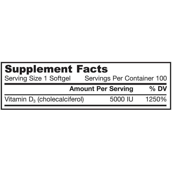 Jarrow Formulas Vitamin D3, 5000 IU, 100 Softgels