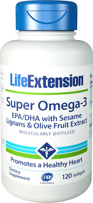 Life Extension Super Omega-3 EPA/DHA with Sesame Lignans & Olive Fruit Extract 120 Softgels