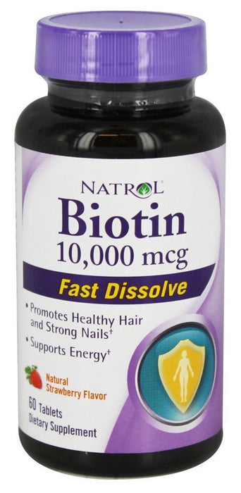 Natrol Biotin Natural Strawberry Flavor 10,000 mcg, 60 Tablets