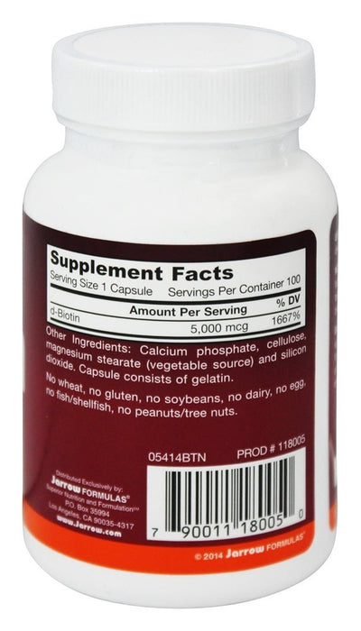 Jarrow Formulas - Biotin, 5000mcg, Energy Production, Skin and Hair Support, 100 Veggie Capules