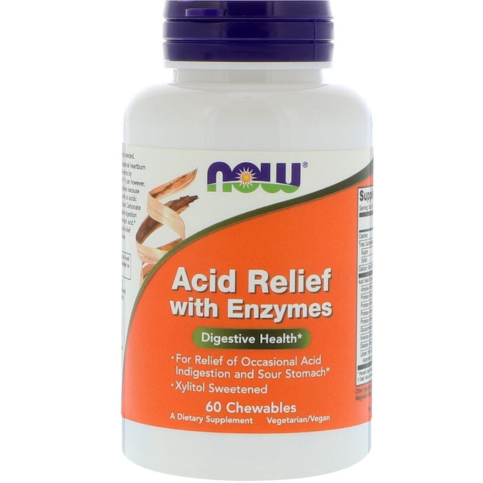 Now Foods - Acid Relief with Enzymes, 60 Chewables