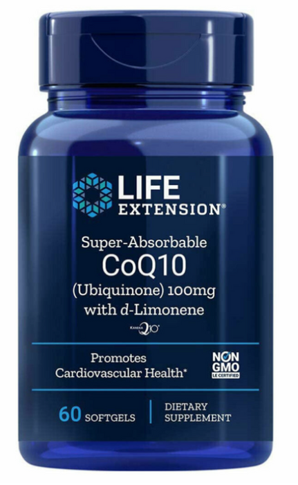 Life Extension Super-Absorbable CoQ10 (Ubiquinone) with d-Limonene, 100 mg, 60 softgels