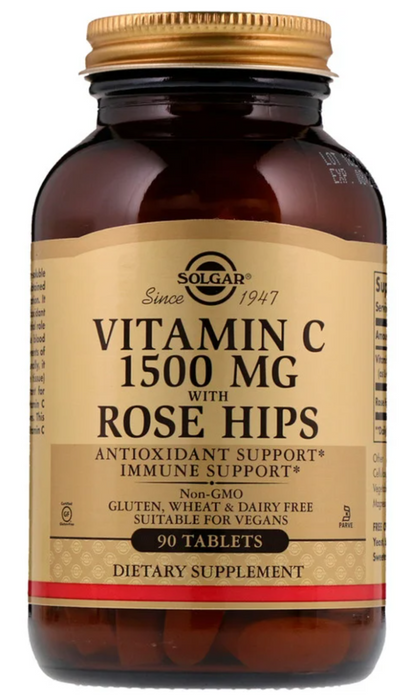 Solgar, Vitamin C with Rose Hips, 1,500 mg, 90 Tablets