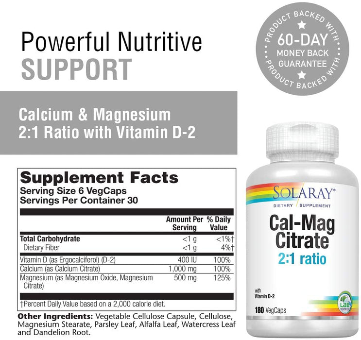 Solaray - Cal-Mag Citrate Capsules with Vitamin D 2:1 Ratio, 180 Counts