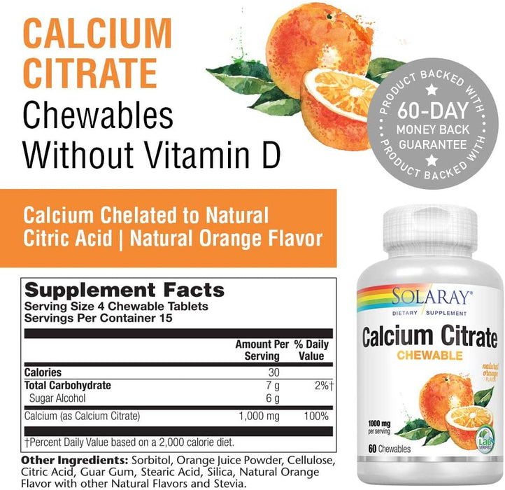 Solaray - Calcium Citrate, 1000mg, Natural Orange Flavor, 60 Chewables