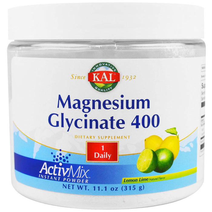 KAL - Magnesium Glycinate 400, Lemon Lime, 11.1 oz (315 g)