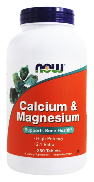 NOW Foods Calcium and Magnesium High Potency, 250 Tablets