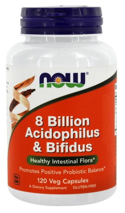 NOW Foods Acidophilus & Bifidus 8 Billion, 120 Capsules