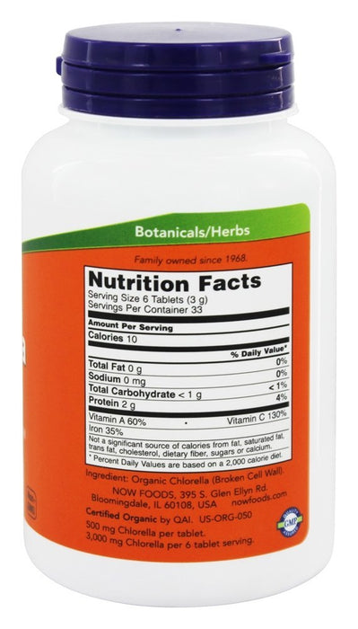 Now Foods Certified Organic Chlorella 500 mg, 200 Tablets