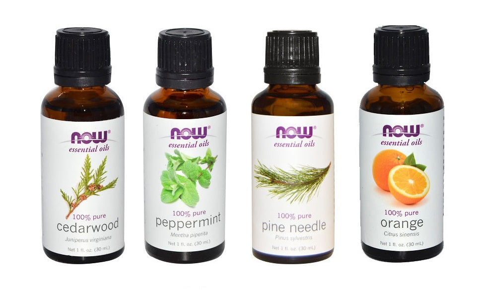 Now Foods Essential Oils Christmas Scent 4 Pack: Peppermint, Cedarwood, Pine, Orange Oil