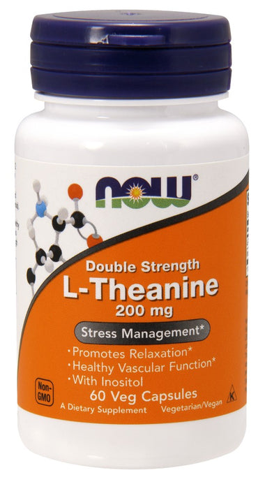 Now Foods L-Theanine, 200 mg, 60 Veg Capsules
