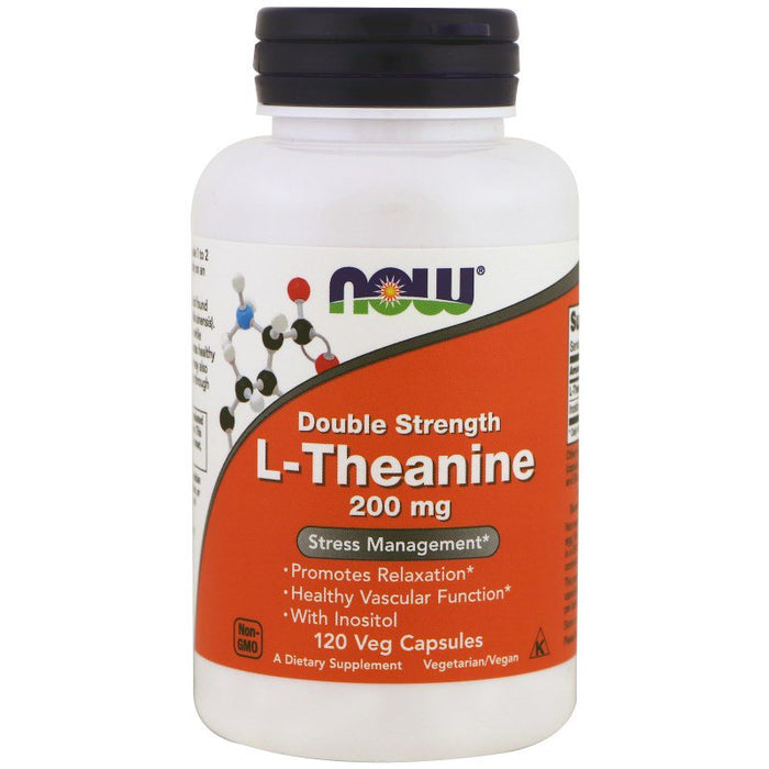 NOW Foods  L-Theanine Double Strength 200 mg, 120 Vegetarian Capsules