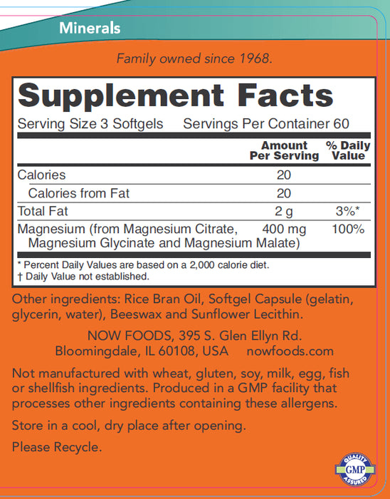 Now Foods Magnesium Citrate, 180 Softgels