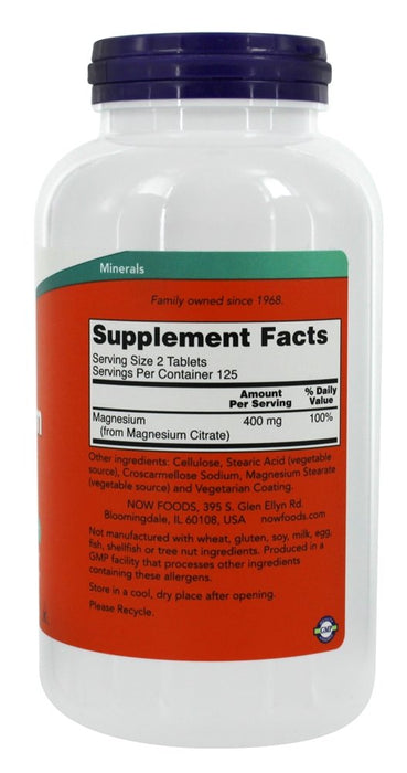 NOW Foods Magnesium Citrate 200 mg, 250 Tablets