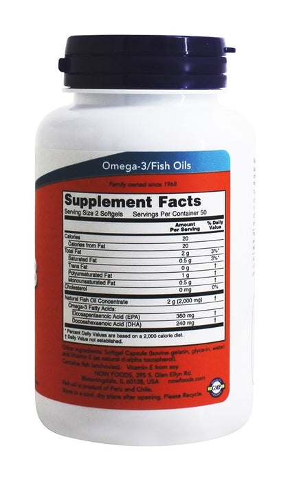 NOW Foods - Omega-3 Molecularly Distilled Fish Oil, 1000 mg, 100 Softgels