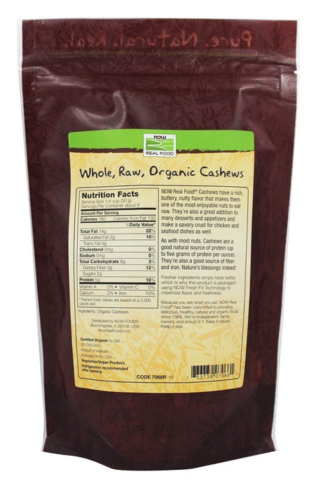 Now Food Certified Organic Whole Raw Cashews 10 oz