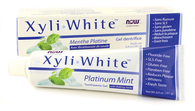 Now Foods Xyli White Platinum Mint Toothpaste Gel with Baking Soda, 6.4 oz